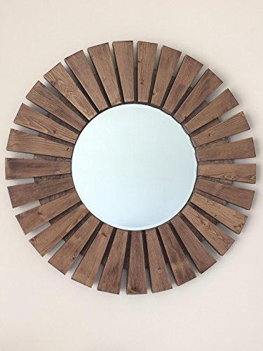 Sunburst Wall Mirror Round Handmade Special Walnut Wood Frame