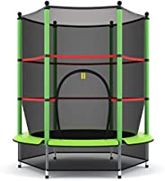 GYMAX 55'' Trampoline, Kids Trampoline with Enclosure Net & Safety Pad, Fitness Rebounder for Indo
