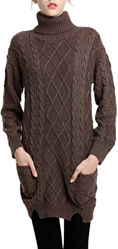 Liny Xin Women's Cashmere Knitted Turtleneck Long Sleeve Winter Wool Pullover Long Sweater Dresses Tops