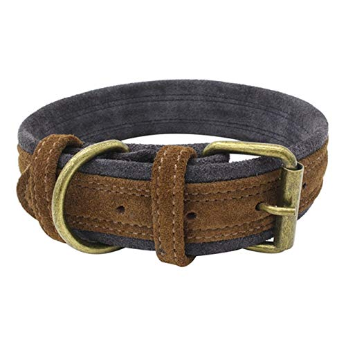 Beatybag Adjustable Pet Dog Collars Double Layer Frosted Calf Collar Dog Leash Collar Perro Arnes Perro for Small and Medium Dogs Chocolate one Size