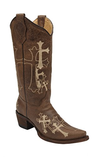 Corral Women's Circle G Side Cross Embroidered Western Boot Brown (Corral Boots Women Cross)