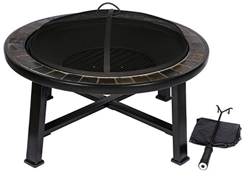 HIO 30-Inch Natural Slate Top Outdoor Fire Pit with Spark Screen, Steel Wood Grate, Protective Cover and Safety Poker