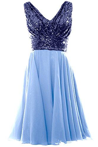 Blue Short Chiffon Sky Bridesmaid Women Navy Wedding MACloth Sequin Gown Dress Party Neck Dark V q16XxwC
