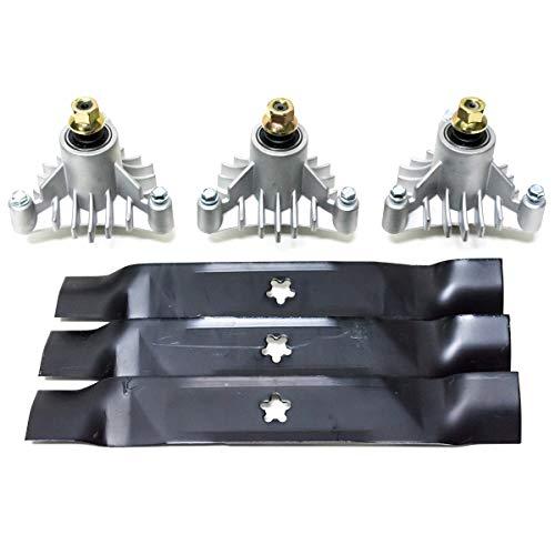 """Craftsman 46"""" Deck Blades & Spindle Mandrel Kit for 152443 143651 Husqvarna Poulan"""