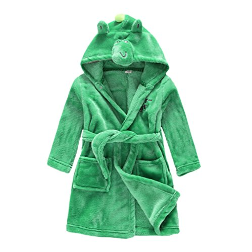 JZLPIN Unisex Baby Boys Girls Flannel Bathrobe Children's Hooded Pajamas Dressing Gown Dinosaur 120CM: -