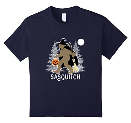 Kids Sasquatch Witch T-Shirt Funny Bigfoot Halloween Costume 12 Navy (Witch Hunter Costume For Girls)