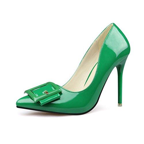 Cybling Mode Bout Pointu Talons Aiguilles Robe Pompes Pour Femmes En Cuir Verni Chaussures De Fête De Mariage Vert