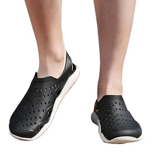 vermers Clearance Sale Outdoor Casual Sandals Walk Beach Flip Flops Flat Men Hollow Light Shoes Slipper(US:7.5, Black) by vermers