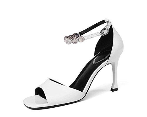Sexy Haute Carré Sweet Amérique Chaussures JAZS® Talon la Style Tempérament New Strass Blanc Mode Fashion Europe Cuir Mince Véritable Sandales Élégant et à TqIYwOI