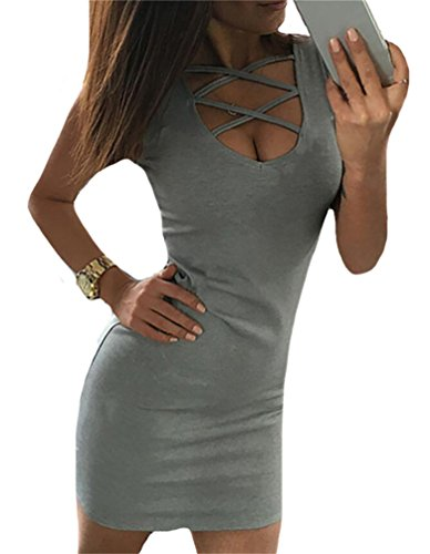 Neck Bandage Mini Womens Out Domple Deep O Club Hollow Sexy Bodycon Dress Grey ZwBS0q6