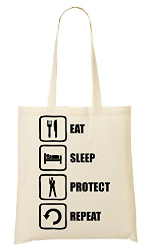 CP Bond Inspired Eat Sleep Protect Repeat Bolso De Mano Bolsa De La Compra