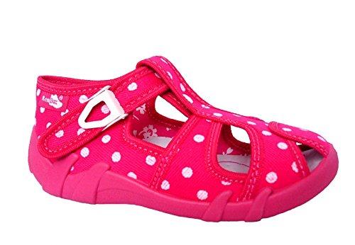 Renbut Baby Mädchen Hausschuhe Sandalen Punkte Pink Weiß Schnalle Innensohle Leder Kindergarten Schuhe Größe 20