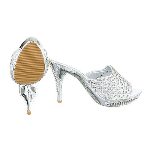 Ital-Design High Heel Sandaletten Damenschuhe Plateau Pfennig-/Stilettoabsatz High Heels Sandalen/Sandaletten Silber