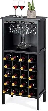 【Material de alta calidad】 El estante para vinos está hecho de pino macizo y MDF, resistente y durad