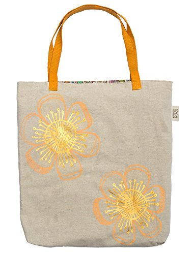 C.R. Gibson Canvas Tote Bag, By Hannah Grace, Printed Interior, Measures 18.5″ x 19″ – Orange Flower