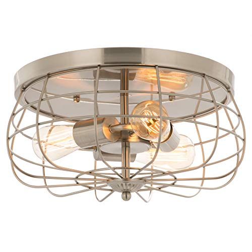 CO-Z 15 Inch Metal Cage Brushed Nickel Flush Mount Ceiling Light Fixture with 3 Lights, Industrial Vintage Ceiling Fixtures for Master Bedroom, Dining Room, Living Room, Foyer Lighting, ETL ()