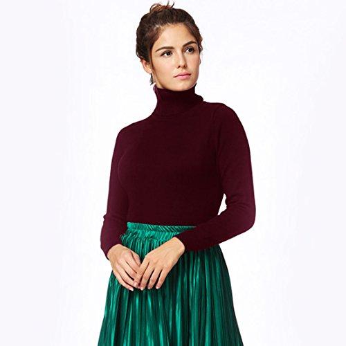 Turtleneck alto Basic Lunghe Solido Romacci Burgundy Donna Sweater Maglione Pullover Collo Maniche Dolcevita nTqXvBWfvY