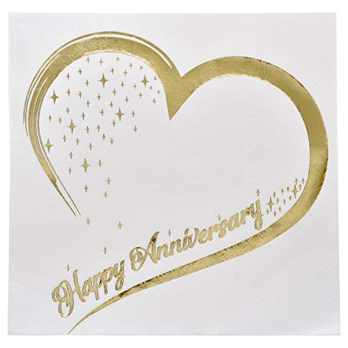 - Gift Boutique 100 Count 3 Ply Happy Anniversary Napkins Wedding Party Favor Supplies Decorations White & Metallic Gold Foil Luncheon Napkin Heart Designs
