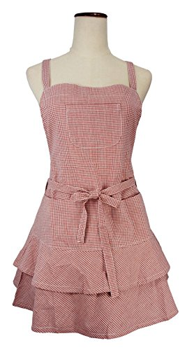 LilMents Petite Cross Back Layered Front Tie Small Checkered Kitchen Costume Apron (Red)