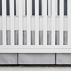 TILLYOU Gray Pleated Crib Skirt, 100% Na...