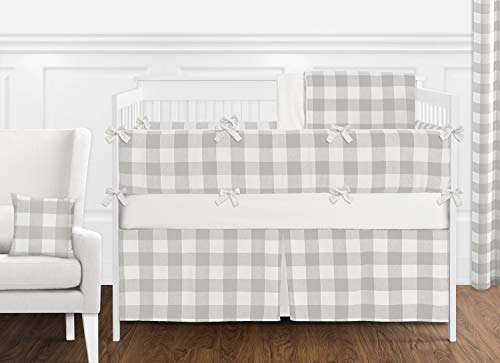 Sweet Jojo Designs Gray and White Rustic Farmhouse Woodland Flannel Unisex Boy Girl Nursery Crib Bedding Set with Bumper - 9 Pieces for Grey Buffalo Plaid Check Collection - Country Lumberjack