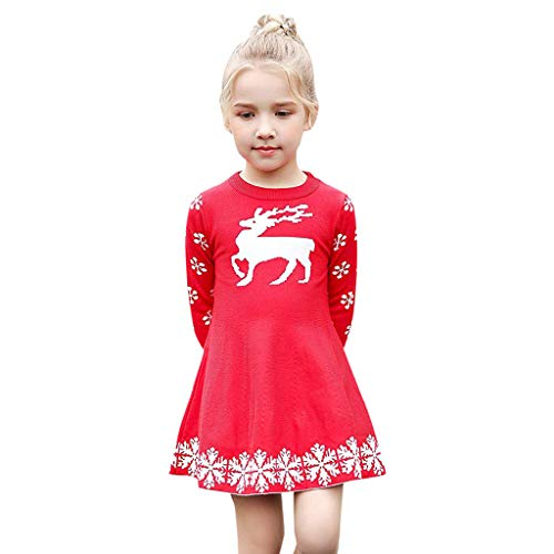 iFOMO Kids Long Sleeve Cartoon Elk Snowflake Print Cute Knit Sweater Dress for Girls 2018 Christmas Party Festival Gift(Red,Height:125-130CM)