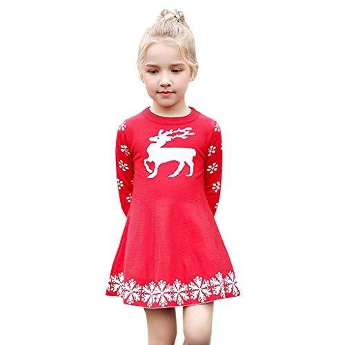 ls Christmas Dress Deer Snowflake Xmas Winter Knit Sweater Dresses(4-5T,Red) ()