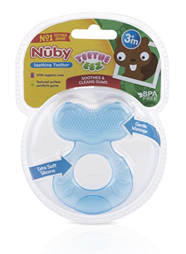 412HCiVsXHL - Nuby Silicone Teethe-eez Teether with Bristles, Includes Hygienic Case, Blue