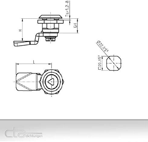 1x 3mm DB Drehriegel Schloss Schaltschrank M/öbelschloss Spindschloss 1C00-518