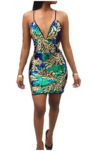 Spaghetti golden s Strap Dress Bodycon Slim Women Mini Fit Sequin Comfy Sling wBxqSpP1nY