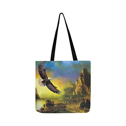 Eagle Wildlife Sunset Flying Nature Bird 772480 Canvas Tote Handbag Shoulder Bag Crossbody Bags Purses For Men And Women Shopping Tote (Saint Laurent Monogram Leather Cross Body Bag)
