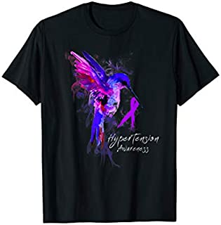 HYPERTENSION Awareness Humming Bird Ribbon Hope T-shirt | Size S - 5XL