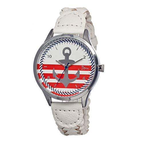 Boum Marin Quartz White Genuine Leather Silver Women's Watch (Women Watches Boum)