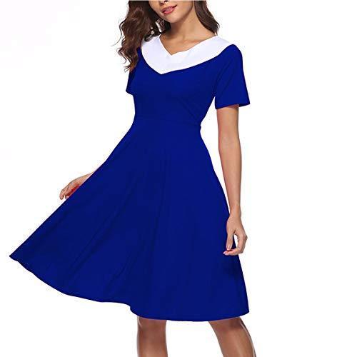 Block tamaño de Alta Vintage Cintura Color Cuello Tea L V Party Color Mujer línea Vestido Rockabilly una Azul anfARax