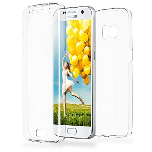 Galaxy S7 Casec OneFlow 360 Full Body Double Case Silicone Clear Rubber Soft Case for Samsung Galaxy S7 built-in Screen Protector Cover - CRYSTAL