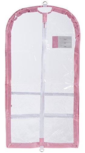 Danshuz Clear Garment Bag with ID Pocket (Pink) (Dance Zipper)