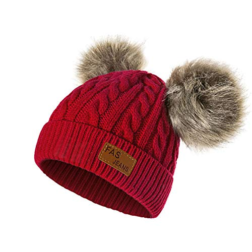 Infant Toddler Beanie Woolen Hat  Pure Color Winter Twist Double Pom Pom Wool Knitted Cap for 0-3 Years Old (0-3 Years Old, F- Red) ()