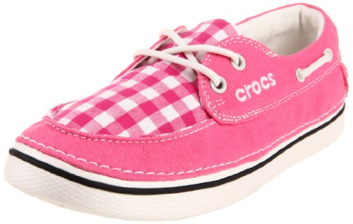 Crocs Women's Hover Gingham Boat Shoe,Hot Pink/Oyster,6 M (Gingham Flat)