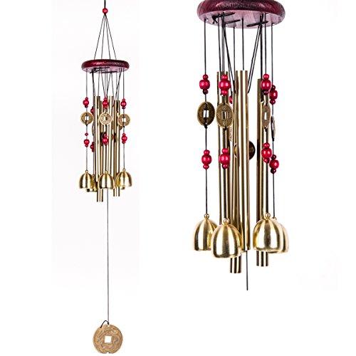 Bell Bronze Garden (BWINKA Wind Chimes Garden Wind Bells Bronze Chime 4 Tubes 5 Bronze Bells Sounds Crisp for Yard Garden Outdoor Indoor Bedroom Ornaments)