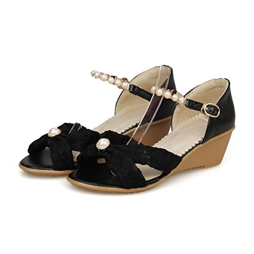 Black Heels AgooLar Women's Material Soft Sandals Buckle Toe Kitten Open Solid Svq7SxwB