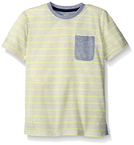 Sovereign Code Little Boys' Diego Short Sleeve Striped Tee Shirt with Colorblocked Pocket, Yellow Stripe, 5 (Sovereign Tee)