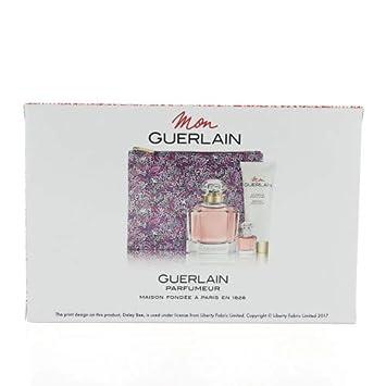 Mon Guerlain Four-Piece Set Eau De Parfum Spray 3.3 oz 0.16 oz Body Lotion 2.5 oz Pouch