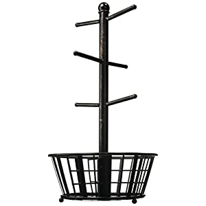 Gourmet Basics by Mikasa 5172783 Band and Stripe Metal 6-Cup Mug Tree with Storage Basket, Antique Black