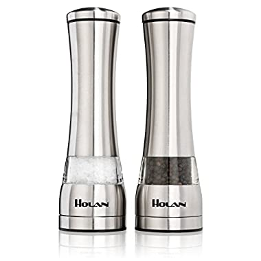 Holan Stainless Steel Salt and Pepper Mill Pepper Grinder Set Shaker,Acrylic Glass Construction,Ceramic Rotor Adjustable Coarseness for Flavor & Seasoning【Pack of 2】