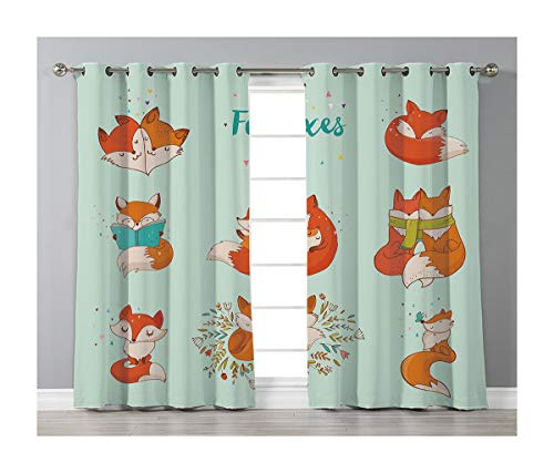 Goods247 Blackout Curtains,Grommets Panels Printed Curtains for Living Room (Set of 2 Panels,55 by 63 Inch Length),Fox