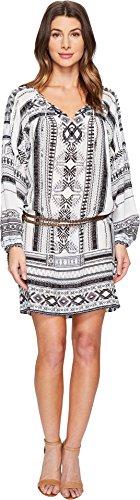 Hale Bob Women's Ligthen up Washed Silk Lightweight Crepe De Chine Dress Black/White Dress