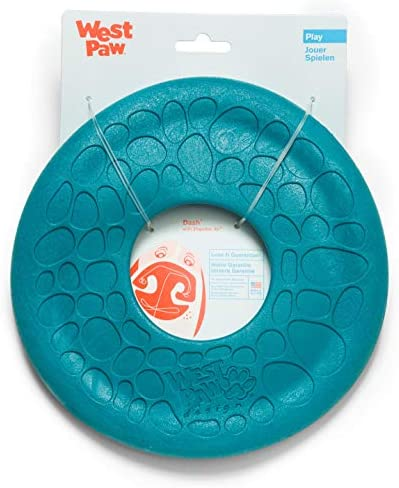 West Paw Zogoflex Air Dash Dog Frisbee ? Floatable Flying Disc Pet Toys ? High-Flying Aerodynamic Disc for Dogs ? Lightweight Chew Puppy Toy for Fetch Catch 8\u201d Round Peacock