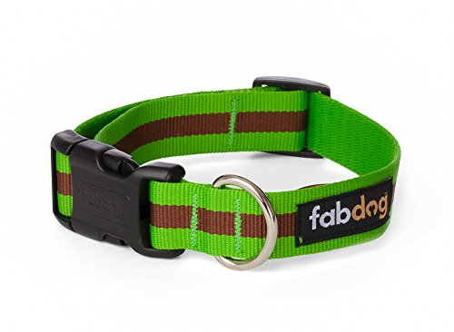 fabdog Classic Stripe Dog Collar Green (Large)