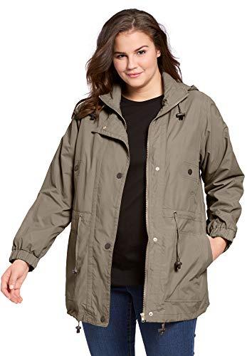 (Woman Within Plus Size Women's Plus Size Fleece-Lined Taslon Anorak - Bark, 1X)