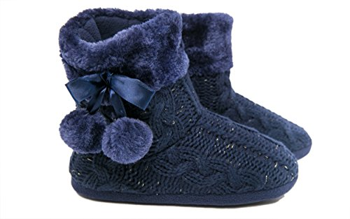 Airee Slipper for Upper and Womens Fairee with Ladies Indoor Knitted Navy Poms Boots Girls Slippers Pom UYYf1nx